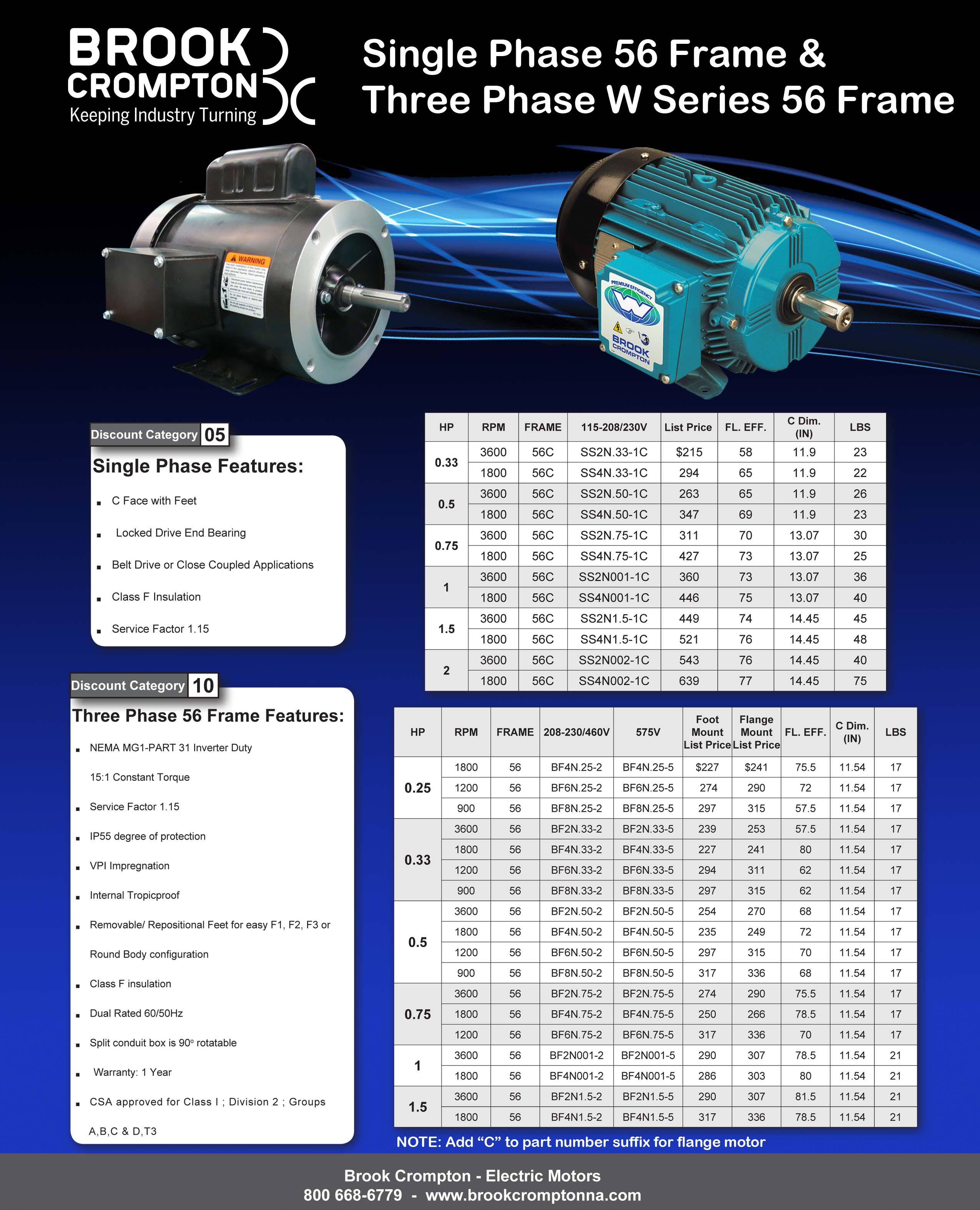 Brook crompton americas electric motors catalog for Us electrical motors catalog